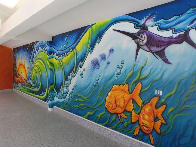 Ocean mural links mural costa mesa ca 36 interior mural for Mural under the sea