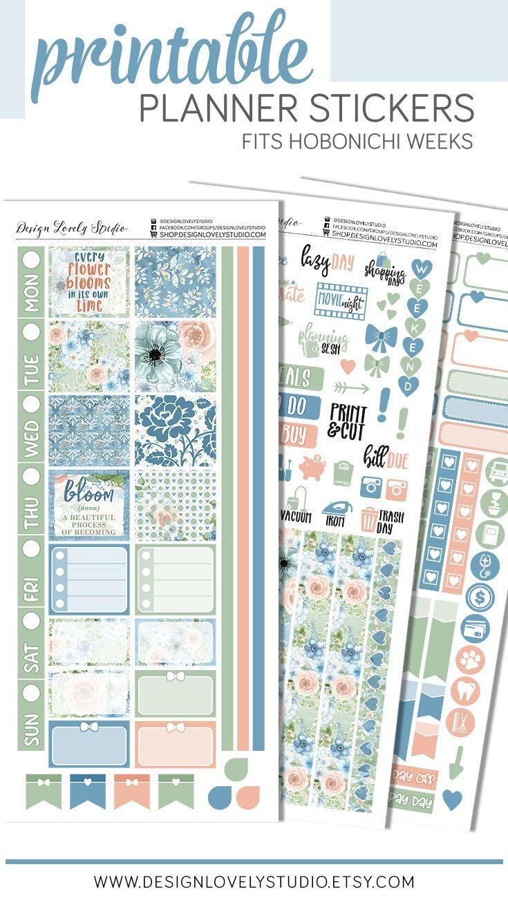 Printable Hobonichi Weeks Stickers Kit Floral Planner Etsy In 2020 Sticker Kits Planner Stickers Floral Planner