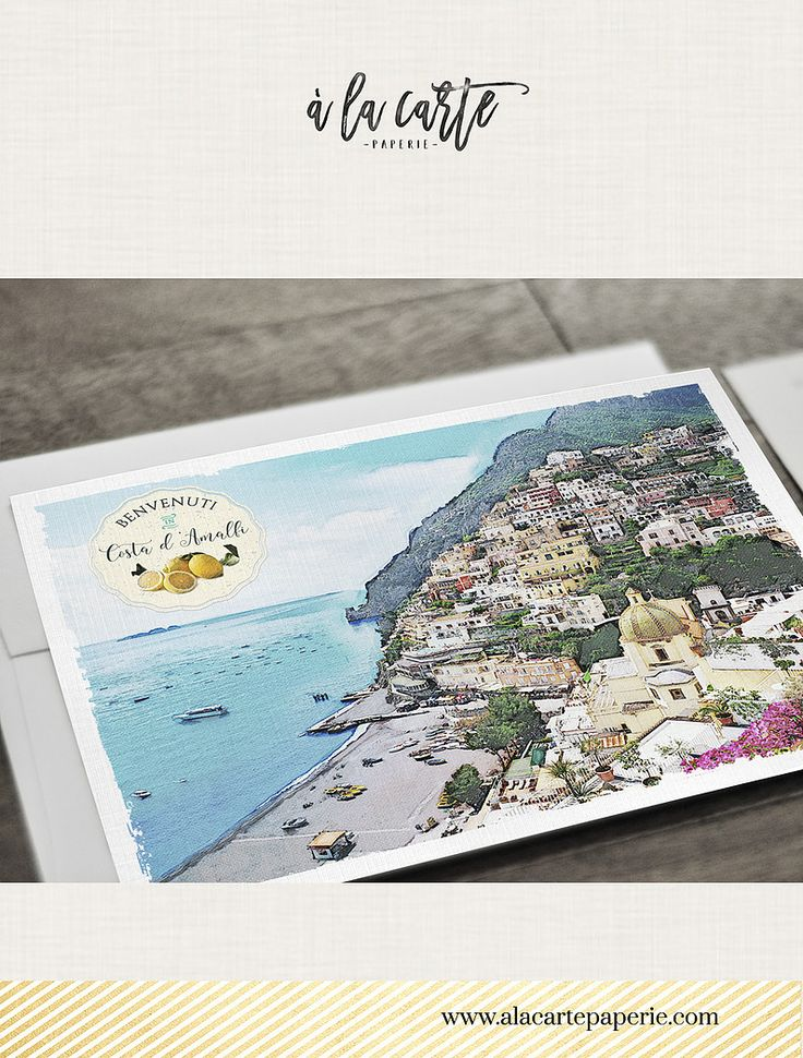 wedding invitations map%0A Amalfi Coast Italy Wedding Invitation Set Positano Amalfi Atrani  Illustrated watercolor Wedding invitation set map beautiful
