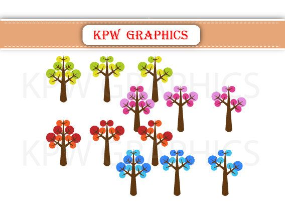 Seasonal Trees Spring Summer Autumn Fall Winter by KPWgraphics