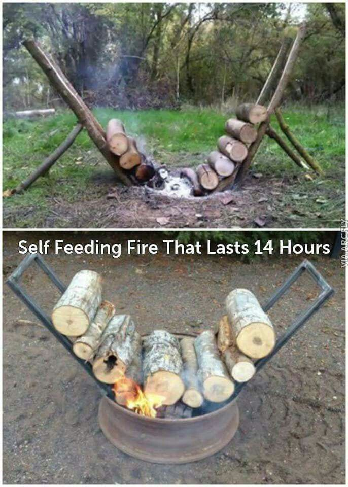 Yule style!! DIY!! GENIUS!! Outdoor fire firepit idea to keep the fire self-feeding the firewood!!