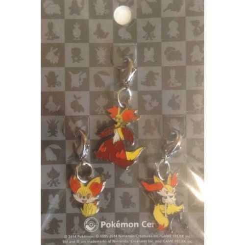 Pokemon Center 2014 Fennekin Braixen Delphox Set Of 3 Charms
