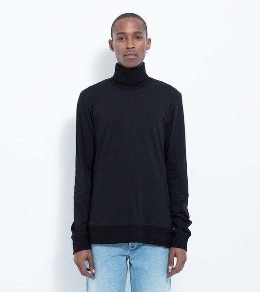 BEASANT LONG SLEEVE T-SHIRT WITH TURTLENECK IN JAC- QUARD FABRIC · BLACK