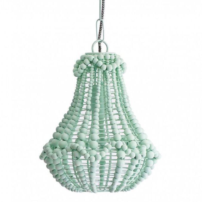 wooden beaded chandelier light green coastal barn - Wood Bead Chandelier