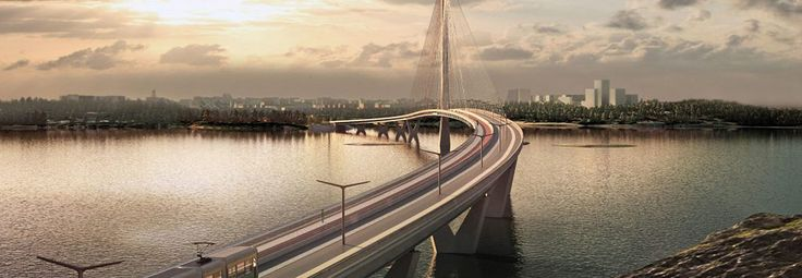 Knight Architects unveiled their design for a beautiful cable-stayed bridge that will cross a bay in Helsinki.