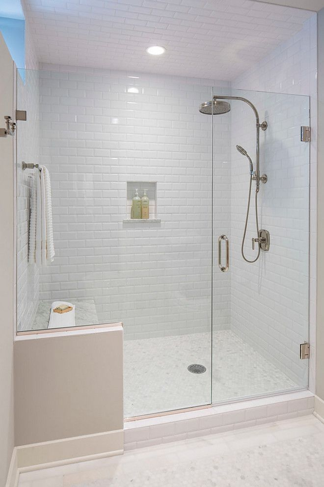 Beveled Subway Tile in Shower. Shower with Beveled…