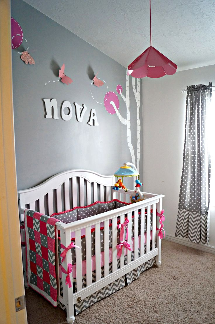 Best Pink And Grey Rooms Images On Pinterest Girl Nursery - Pink and grey nursery decor