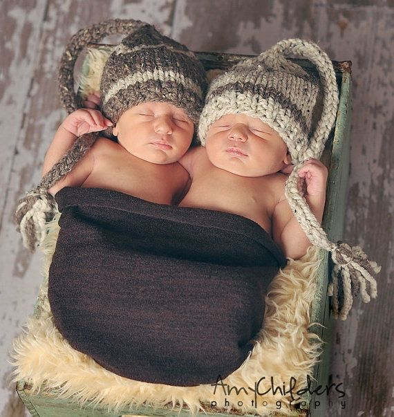 Twin set baby elf hats in oatmeal and barley beautiful photo prop also sold separately