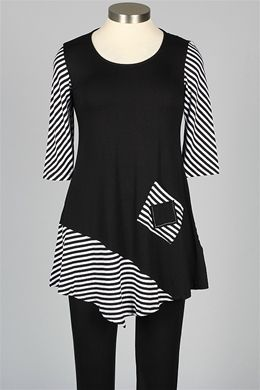 good color blocking balance- inside out - Elsy Tunic - Black & White - Tops at Fawbush's