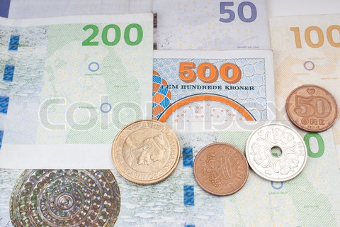 The bills and coins are of Danish currency
