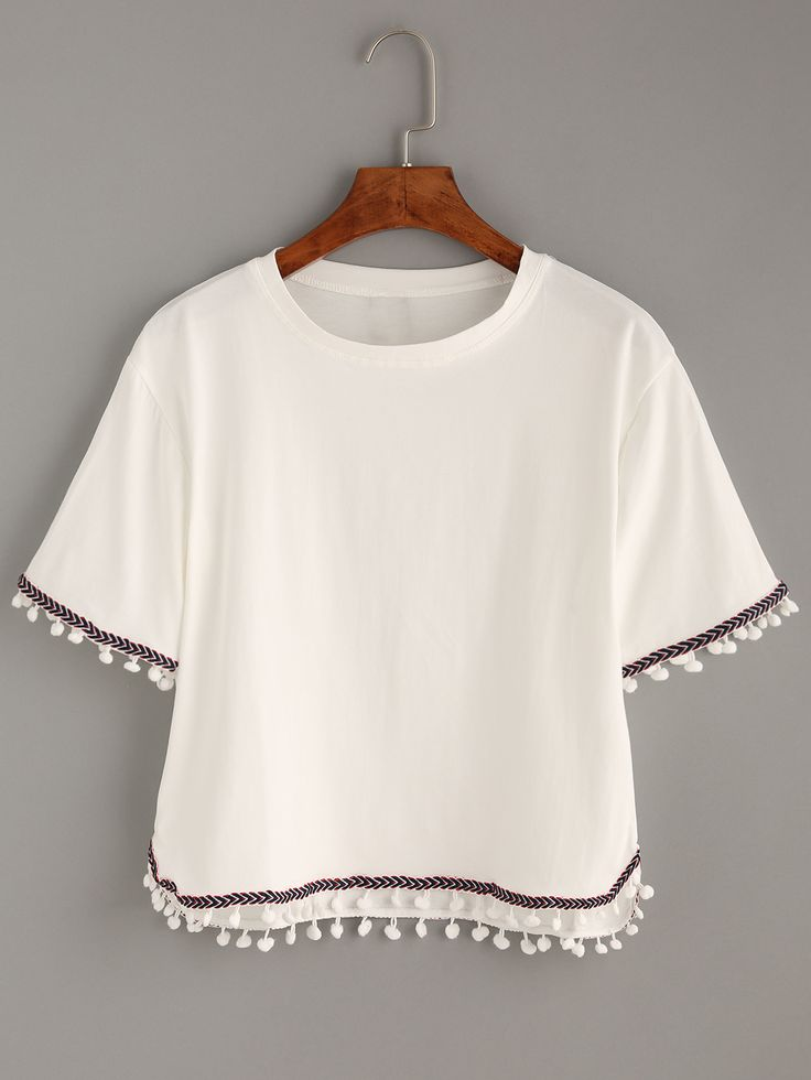 Shop White Embroidered Tape Trimmed T-shirt online. SheIn offers White Embroidered Tape Trimmed T-shirt & more to fit your fashionable needs.
