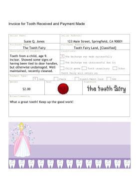 The invoice in this free, printable tooth fairy letter serves as a receipt for the child in the lost tooth exchange. Free to download and print