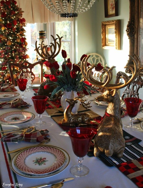 Tablescape Tuesday Golden Reindeer Christmas Tablescapes Tablescapes Table Decorations