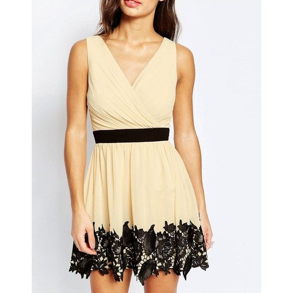 Little Mistress Petite Wrap Front Lace Detail Prom Dress (6190 RSD) ❤ liked on Polyvore featuring dresses, beige prom dresses, petite wrap dress, lace dress, lace prom dresses and v-neck dresses