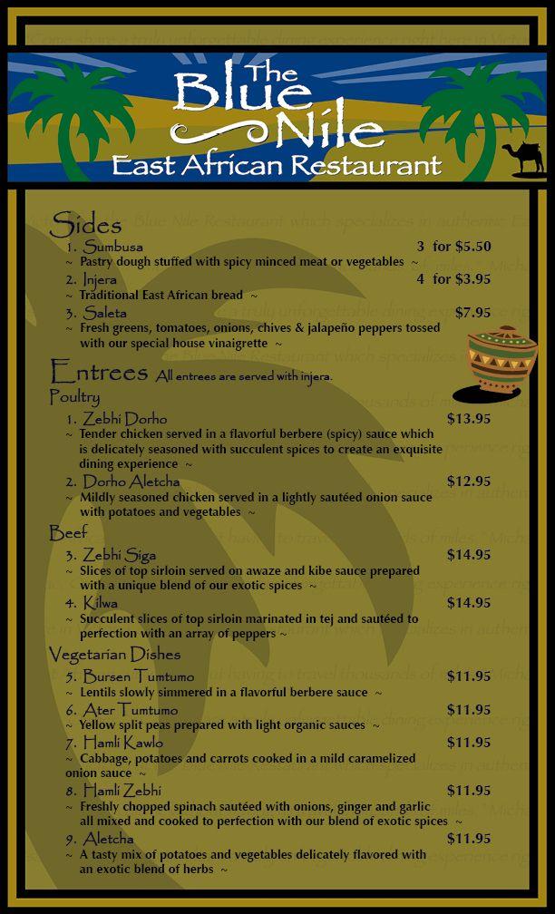 http://www.bluenilerestaurantvictoria.com/menu.htm  Blue Nile East African Restaurant (Ethiopian), Victoria, BC