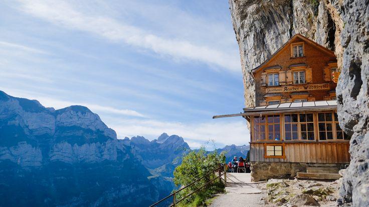 Amazing Cliff side hotel - Aescher hotel in Ebenalp region Switzerland