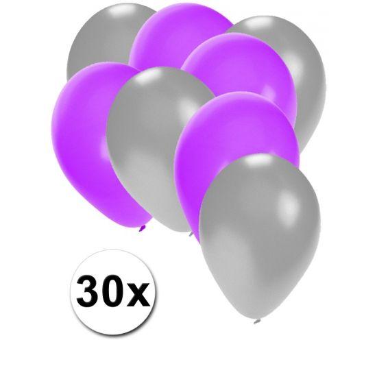Zilveren en paarse ballonnen 30 stuks  30 stuks ballonnen in de kleuren zilver en paars. Van elke kleur 15 ballonnen leuk voor verjaardagen en themafeesten. Formaat is ongeveer 27 cm. Goede kwaliteit.  Dit artikel bestaat uit: 1x Zilveren ballonnen 15 stuks 1x Paarse ballonnen 15 stuks  EUR 2.99  Meer informatie
