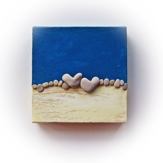 Heart shaped Beach stones rocks - Compound wall art.