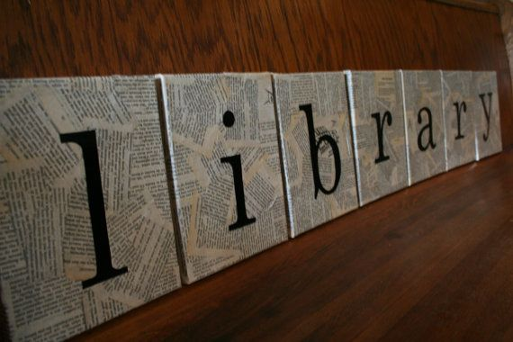Love!! >> Book page collage with letters on canvas. #library