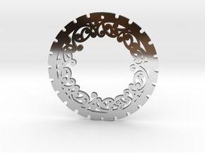Simple 'Kowhaiwhai' Disc Earring ~ 33mm diameter in Premium Silver