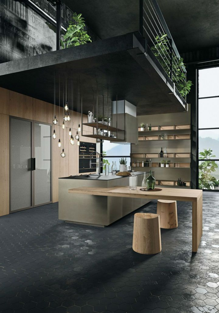 OPERA Industrial Kitchen With Island Without Handles | Maisons ...