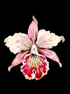 VINTAGE 1940 A. PHILIPPE TRIFARI PINK ENAMEL RHINESTONE ORCHID FLOWER DRESS CLIP-ebay $649 Unsold