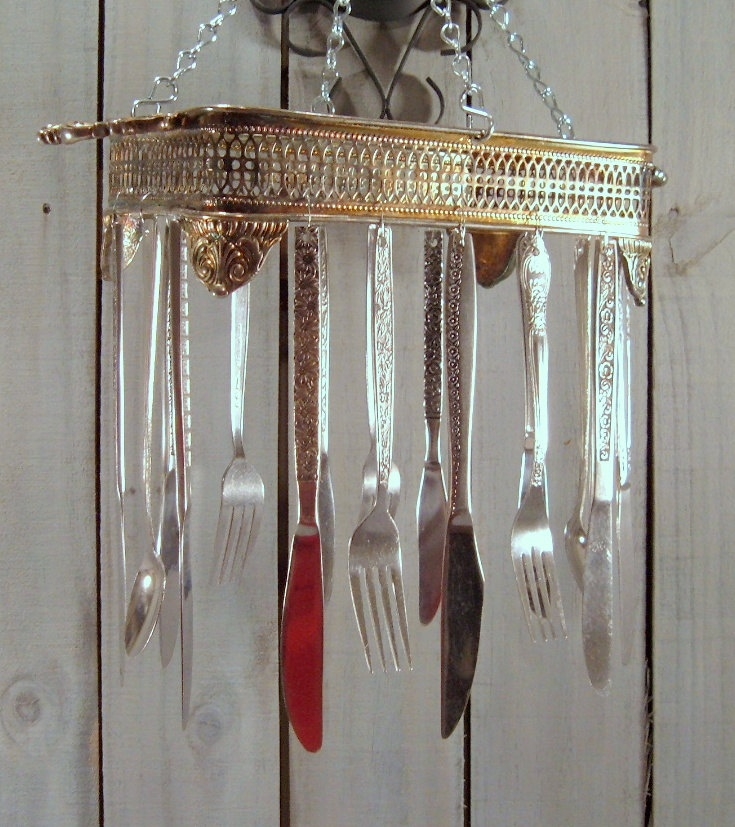Silverware sun catcher wind chime handmade from vintage for How to make a windchime out of silverware
