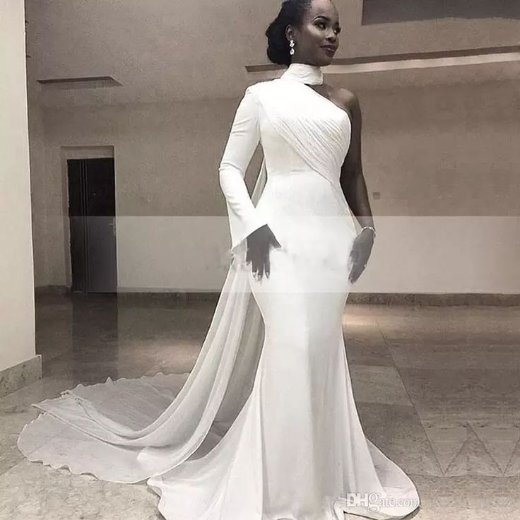 Do not worry about the size and come to buy plus size fashion clothing,plus size formal and plus size formal dresses cheap on DHgate.com. modern white high neck single long sleeve mermaid formal evening dresses chiffon train simple trumpet africa women's evening gowns 2017 in weddingteam is your best choice.