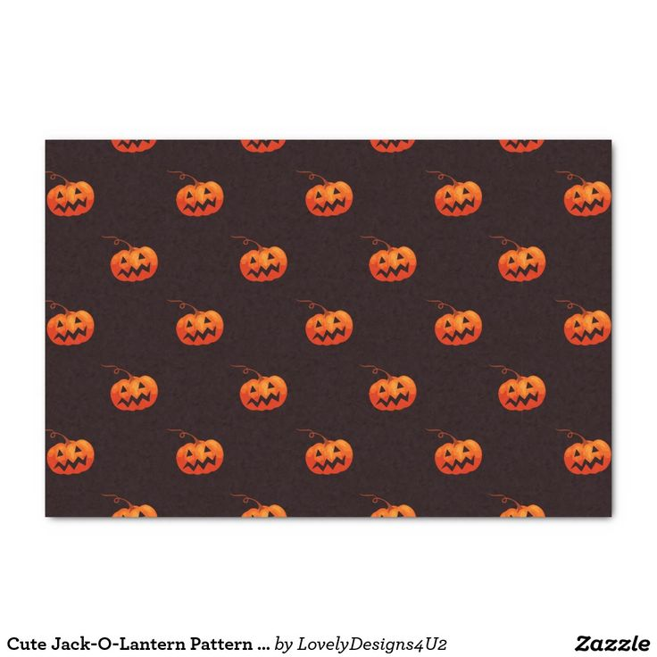 "Cute Jack-O-Lantern Pattern on Black 10"" X 15"" Tissue Paper"