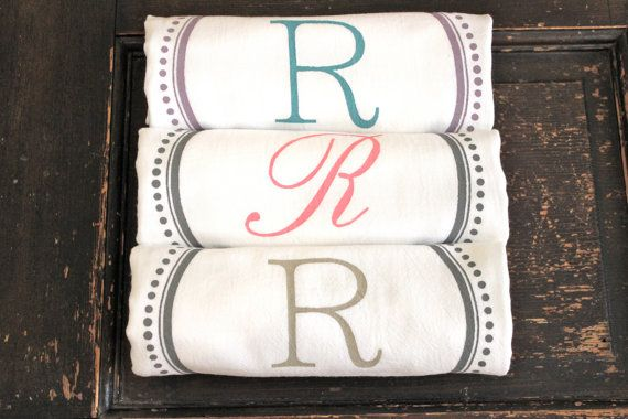 3 Custom Monogrammed Towels #TeaTowels  #Kitchen by MODERN VINTAGE MARKET Your choice of color combos