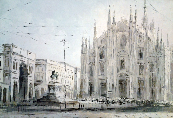 The Duomo, Oil on Canvas, original painting  $150 (in euro)  40 cm x 60 cm