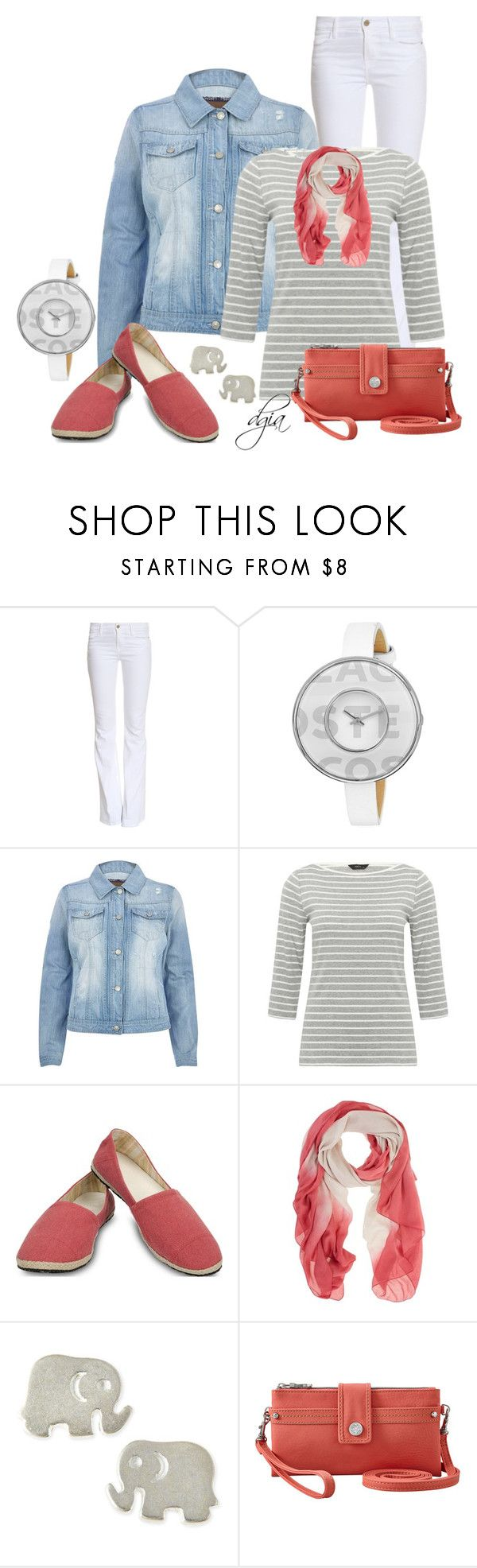 """""""River Island Light wash denim jacket"""" by dgia ❤ liked on Polyvore featuring Frame, Lacoste, River Island, M&Co, Ocean Minded, Mint Velvet, Dogeared and Relic"""