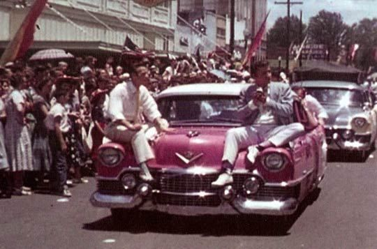 May 26, 1955 Jimmie Rodgers Snow and Elvis at Meridian Folk Festival parade, Meridian, MS.