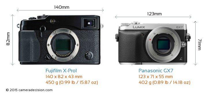 Fujifilm X-Pro1 vs Panasonic GX7 Camera Size Comparison - Front View