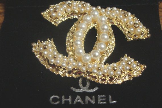 CC Brooch Pin Pearl Double C Designer Chanel Inspired by ...