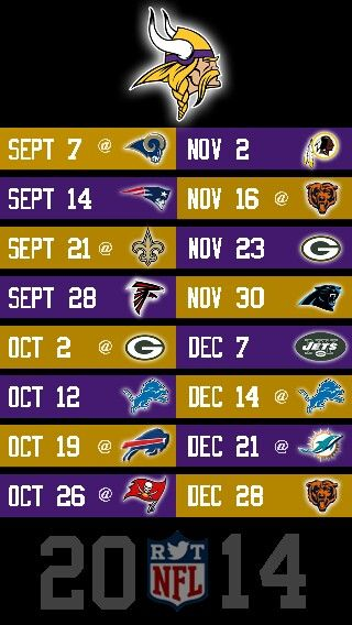 NFL 2014 MINNESOTA VIKINGS IPHONE 5 WALLPAPER SCHEDULE