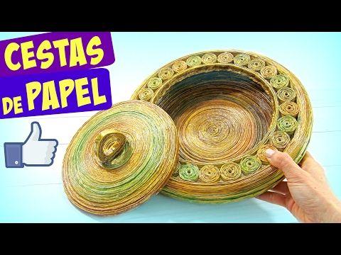 DIY Cesta de papel periódico con tapa. Newspaper baskets. - YouTube