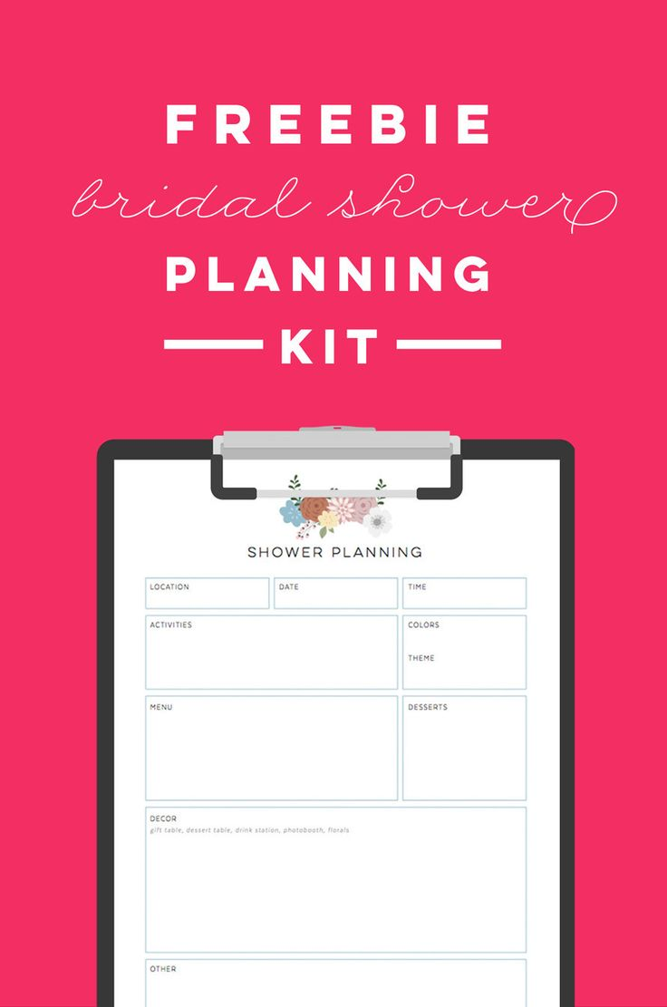 FREE printable bridal shower planning kit - to do list, timeline, menu planner, decor helper, and guest list!