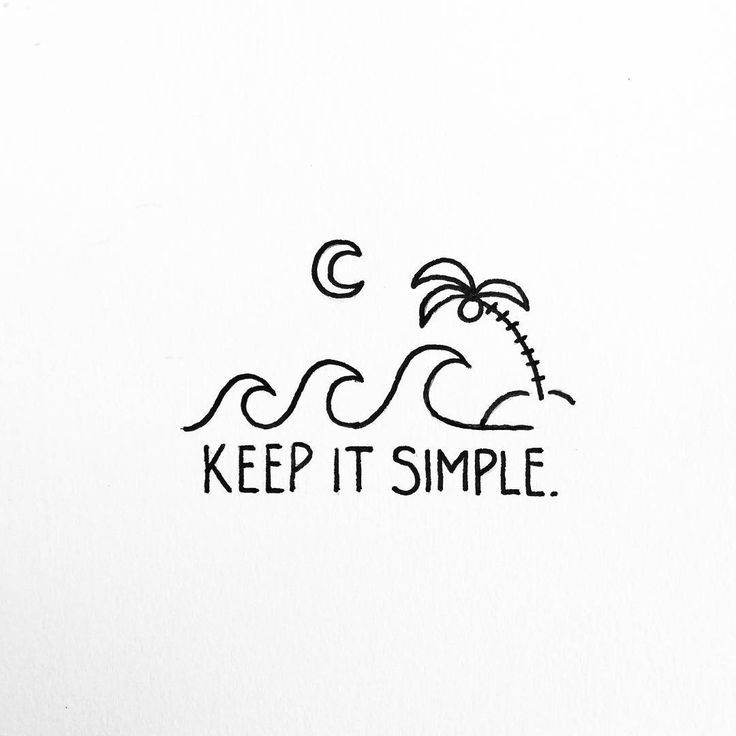 Keep It Simple Beach Illustration Palm Tree Waves