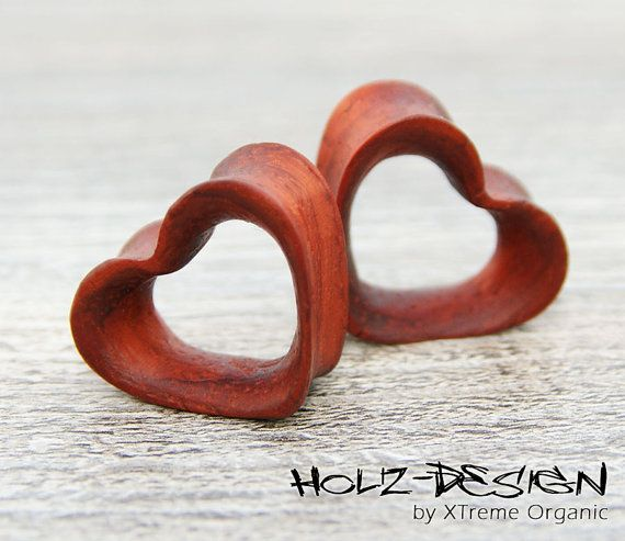 20 60mm Pair Wooden Heart Flesh Tunnel wood ear by XTremeOrganic