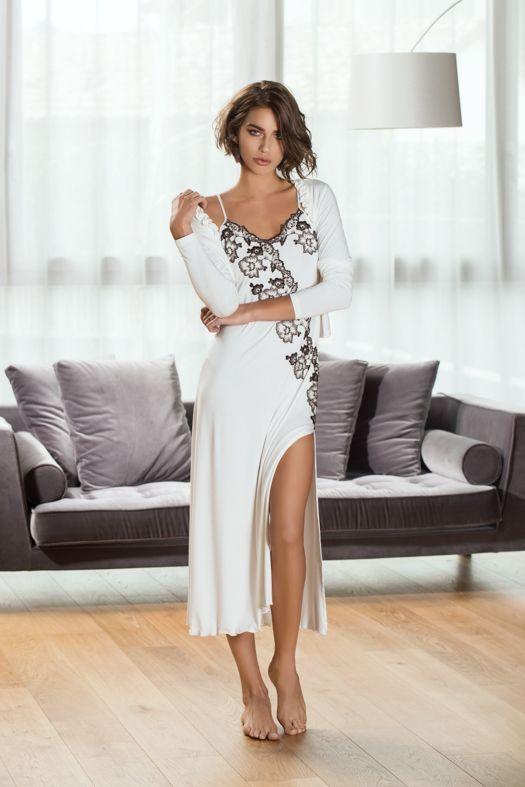Nachthemd Modal mit Spitze weiß lang von Exilia | Modestil ...