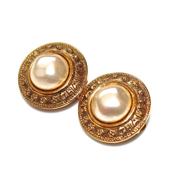 Vintage Chanel Pearl Earrings Designer Vintage  Chanel