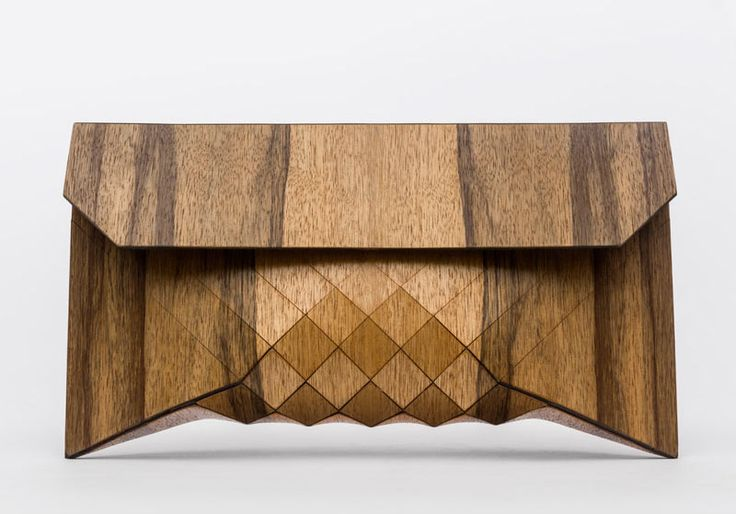 Wooden clutch bags from Tesler + Mendelovitch.
