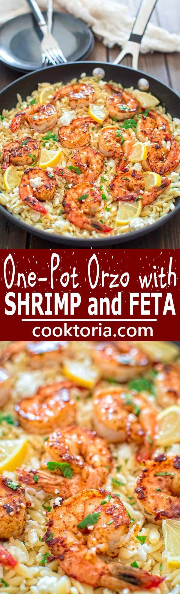 Very easy to make, yet unbelievably delicious, this One Pot Orzo with Shrimp and Feta is worthy of a special occasion! ❤ COOKTORIA.COM