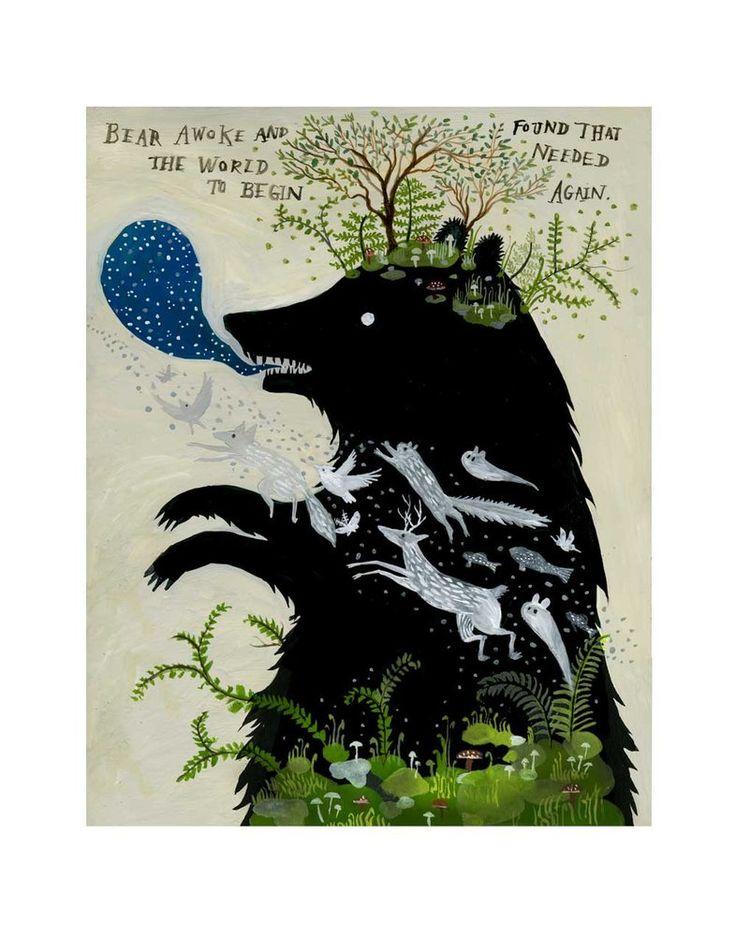 Bear Awoke - 11 x 14 inch Archival Inkjet Print (giclée). / Diana Sudyka