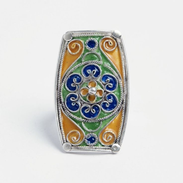 Inel unicat Aissa, argint și email, Maroc #metaphora #silverjewelry #ring #morocco #enamel