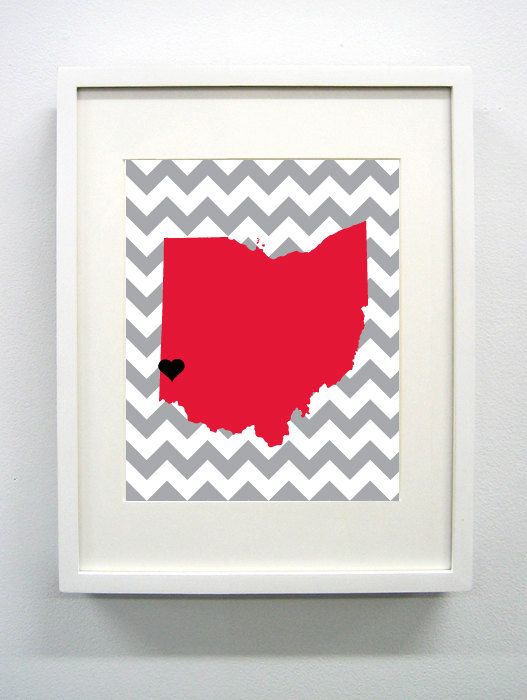 Oxford Ohio State Giclée Print  8x10  Red and Gray by PaintedPost, $15.00 #paintedpoststudio - Miami University of Ohio - Redhawks- What a great and memorable gift for graduation, sorority, hostess, and best friend gifts! Also perfect for dorm decor! :)