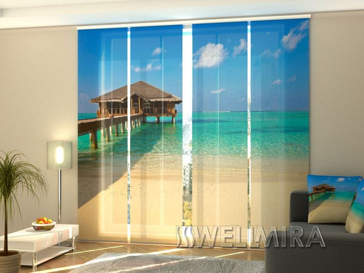 Great Set of Panel Curtains Tropical Beach at Maldives Wellmira ModernCurtains PanelCurtains Curtains JapaneseCurtains Fotogardine Schiebevorhang