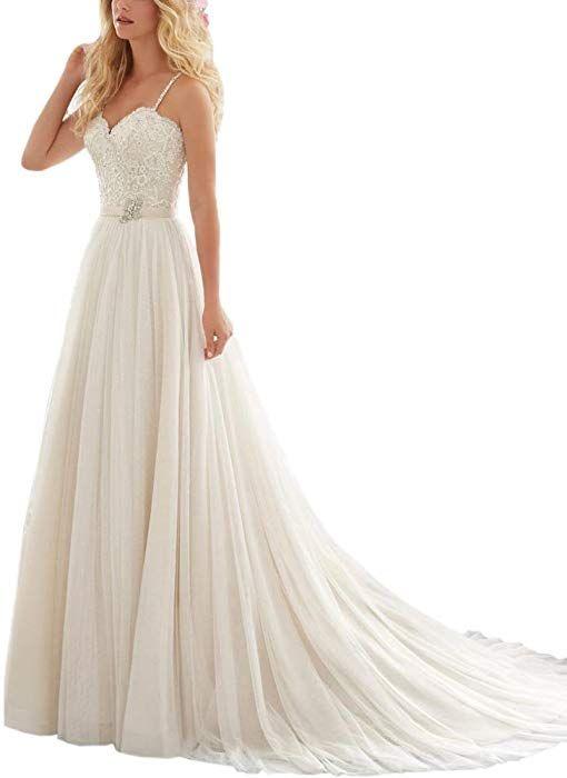 dc4d816b5 AbaoWedding Women's Sweetheart Pleats Lace Satin Long Beach Wedding Bridal  Dress Size 2 White at Amazon Women's Clothing store: