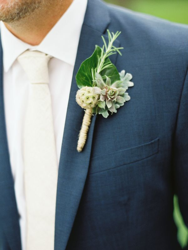 Our Oatmeal Linen Tie plays nicely off a navy suit, see in Meaghan + Nat's wedding on Wedding Chicks